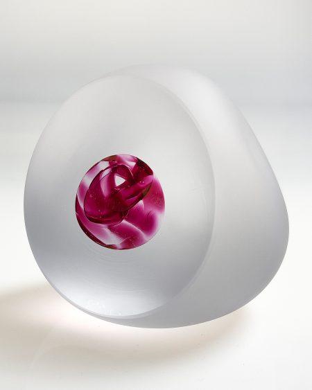 Bespoke handmade art glass paperweight ornament - gold ruby left