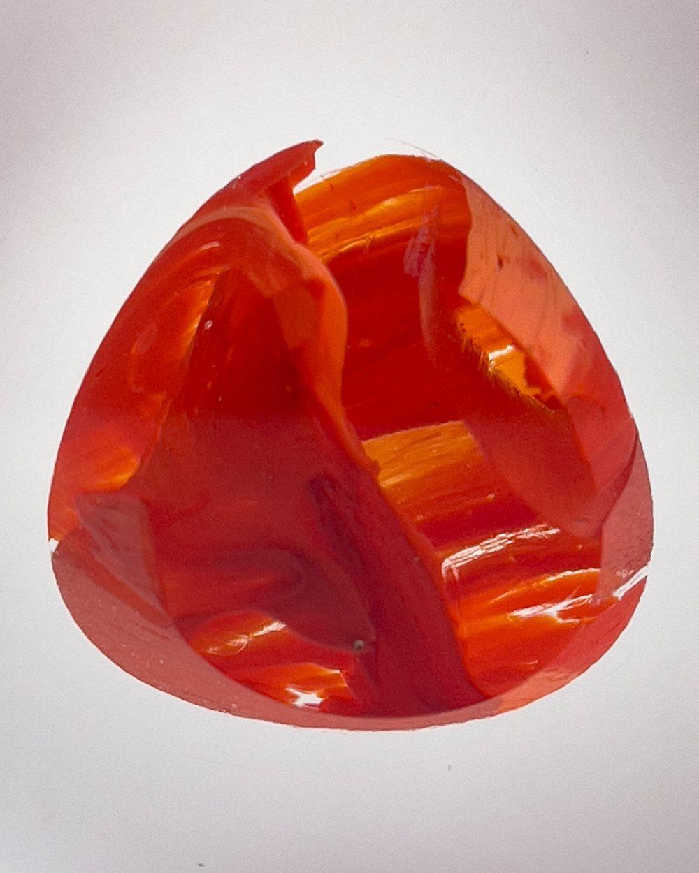Bespoke handmade art glass paperweight ornament - scarlet detail