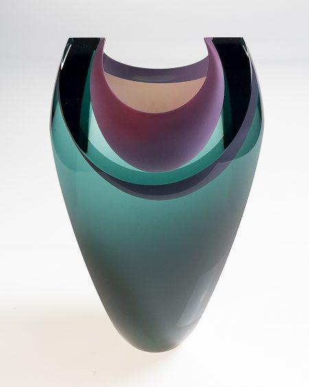 Bespoke sculpture handmade blown art glass vessel grey pink
