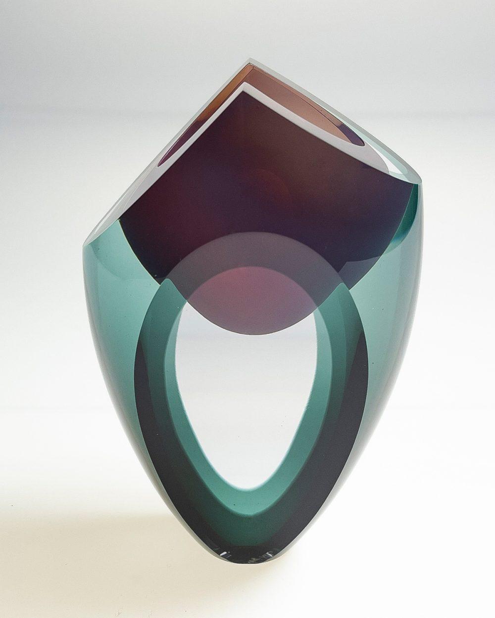 Bespoke sculpture handmade blown art glass vessel grey pink top side