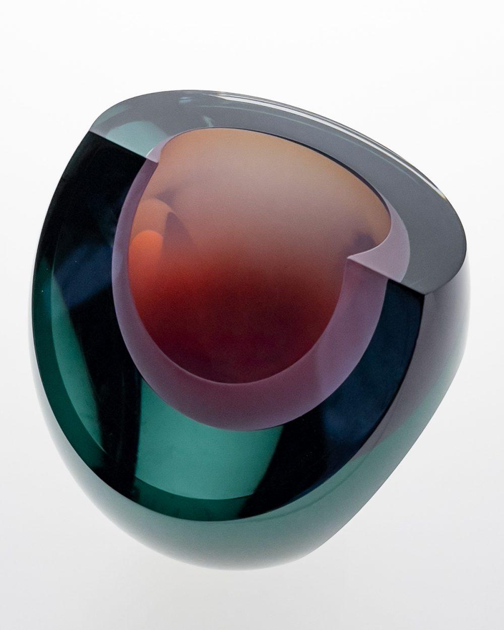 Bespoke sculpture handmade blown art glass vessel grey pink top